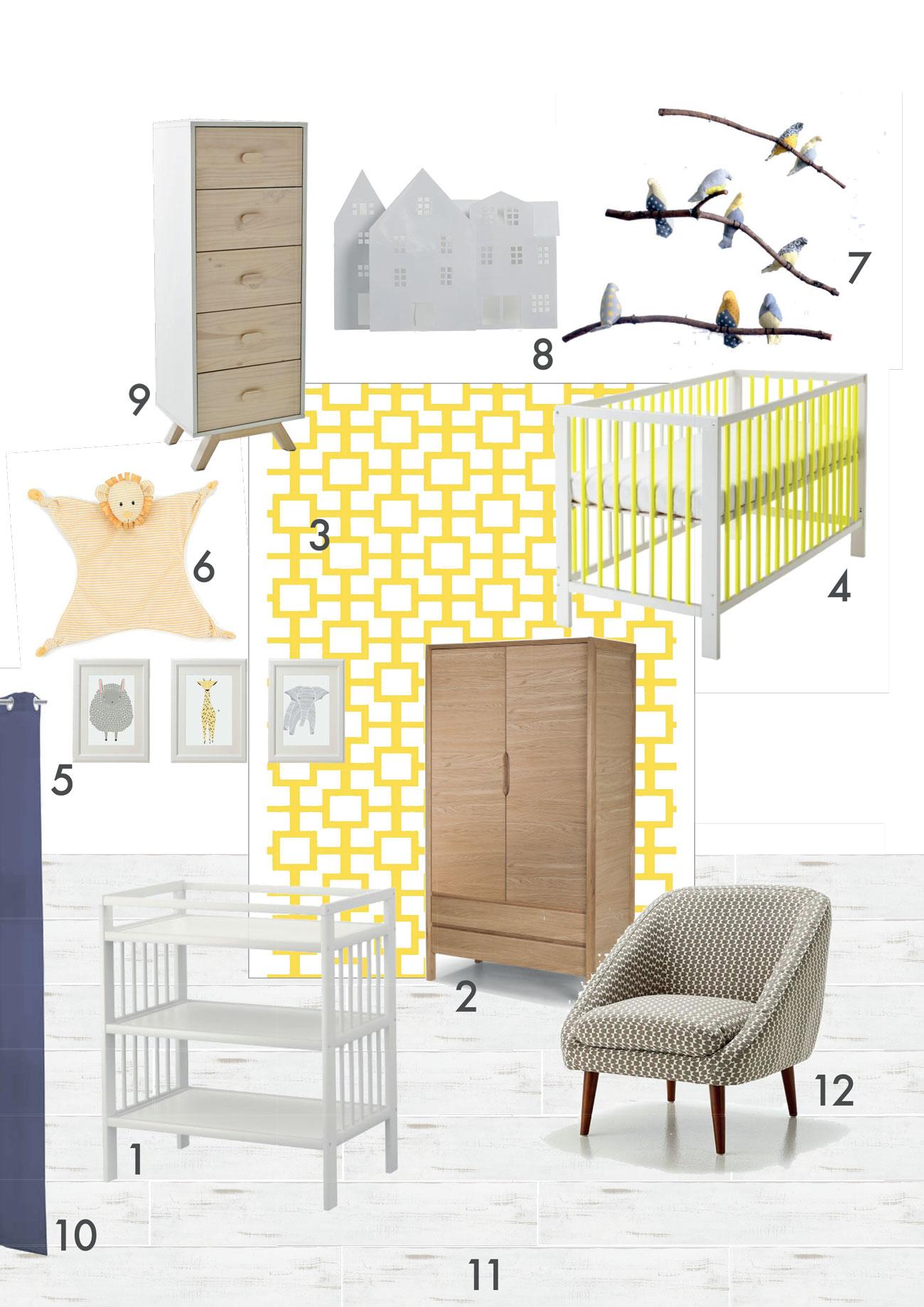 une nursery en jaune et gris  u2013 ninon le lay